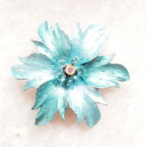 Vintage Painted Blue Rhinestone Flower Brooch